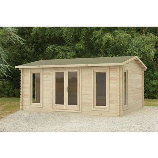Forest Rushock Apex Roof Double Glazed Log Cabin (24kg Polyester Felt, no Underlay ) 5.0m x 4.0m Natural Timber