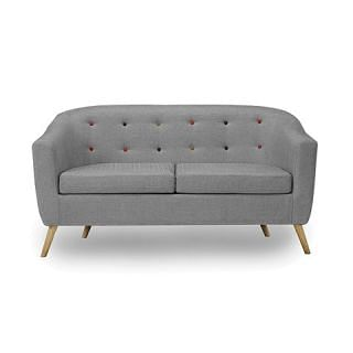 LPD Hudson 2 Seater Sofa with Buttons - Grey